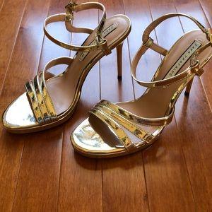 zara trafaluc sandals metallic gold heels